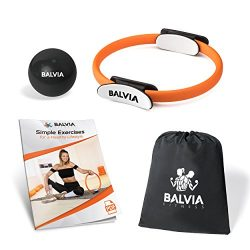 Balvia Fitness Pilates Yoga Ring Equipment Bundle with Non-Slip Grip Handles – Carrying Ba ...