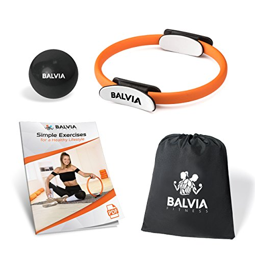 Balvia Fitness Pilates Yoga Ring Equipment Bundle with Non-Slip Grip Handles – Carrying Ba ...