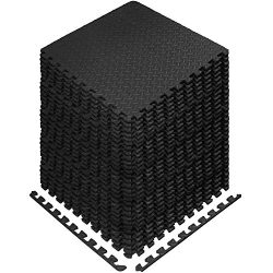 Yes4All Interlocking Exercise EVA Mat Floor Protector (120 Square Feet – Black – wit ...