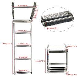 YaeMarine 4-step Under Platform Slide Mount Boat Boarding Ladder, Telescoping, 304# Stainless Steel