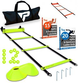 Pro Agility Ladder and Cones – 15 ft Fixed-Rung Speed Ladder with 12 Disc Cones for Soccer ...