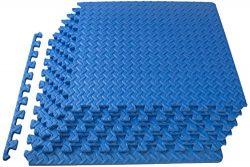 ProSource Puzzle Exercise Mat, EVA Foam Interlocking Tiles, 24 Square Feet, Blue