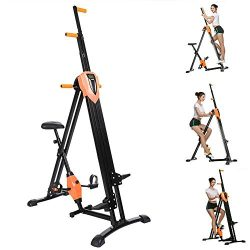 2-in-1 Folding Vertical Climber, Fitness Step Machines Exercise Bike for Body Trainer in Gym Hom ...