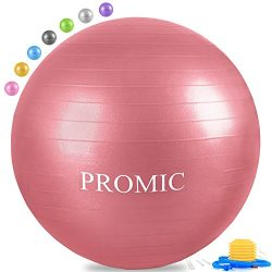 PROMIC Professional Grade Static Strength Exercise Stability Balance Ball with Foot Bump,65cm,Red