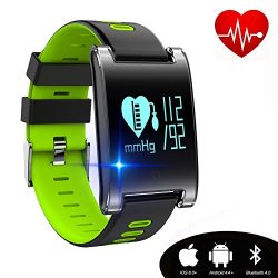kingkok Blood Pressure Monitor Touch Screen Personal Fitness Tracker Waterproof Pedometer Heart  ...