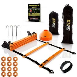 Bltzpro AGILITY LADDER with CONES Fitness Gear- Improve Soccer,Football & Sports Skills, Use ...