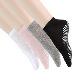 Yoga Socks Non Slip Skid Pilates Ballet Barre with Grips for Women Men 4 Pack by Cooque