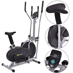 Gymax 2 IN 1 Elliptical Fan Trainer Exercise Bike Indoor Home Cycling Fan Bike Exercise Machine  ...