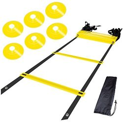 AGILITY LADDER and CONES. Quality training equipment to improve Soccer, Football & Sports Sk ...