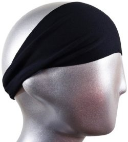 Bondi Band SOLID MOISTURE WICKING 4″ HEADBAND, BLACK – Workout Sweatband; Great for  ...