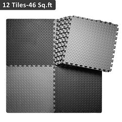 innhom Interlocking Foam Mats Gym Mat Puzzle Exercise Mat with EVA Foam Interlocking Tiles, 12 T ...