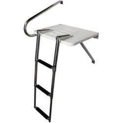 Pactrade Marine Boat Universal Swim Over Platform Mount Telescopic Ladder, 3 Step in/Outboard On ...