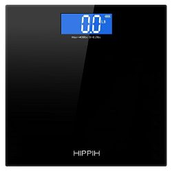 Hippih 400lb / 180kg Electronic Bathroom Scale with Tempered Right Angle Glass Balance Platform  ...