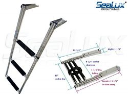 SeaLux Over Mount 3-Step Folding Telescopic Boarding Ladder 400 lbs. capacity