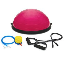 Best Choice Products Yoga Balance Exercise Ball w/2 Resistance Bands & Pump – Pink