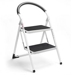 Delxo 2 Step Ladder Folding Step Stool Steel Stepladders with Handgrip Anti-slip Sturdy and Wide ...