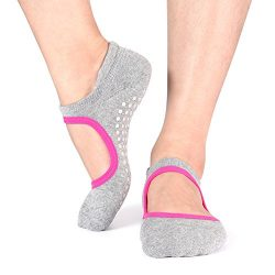 Yoga Socks Non Slip Skid Pilates Ballet Barre with Grips Cotton For Women Men