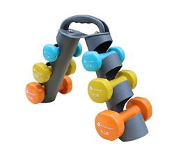 Dumbbell Set with Foldable Rack That Can Stand For Display or Folded For Travel And Storage Thes ...