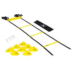 4 OCEANS-FAMILY Agility Ladder Speed Training Equipment (Workout Ladder | 12 rungs |, 8 Cones, 4 ...
