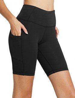 Baleaf Women's 8″ High Waist Tummy Control Workout Yoga Shorts Side Pockets Black Size L
