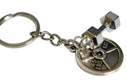 Weightlifting Plate + Dumbbell Keychain