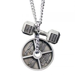 Shields of Strength Men's Antique Finish Combo Necklace-Luke 1:37 Dumbbell/Romans 8:37 Wei ...