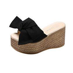 Women Platform Sandal Casual Beach Espadrille Slip On Summer Slides Duseedik Promotion (Black, U ...