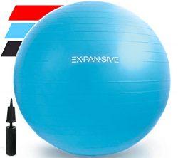 Expansive Living Anti Burst Exercise Ball (Blue, 65 cm) – 2,000lbs STATIC STRENGTH STABILI ...