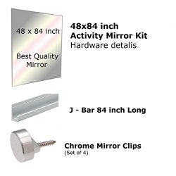 Fab Glass and Mirror GM48x84 Activity Mirror Kit for Gym & Dance with Safety Backing, 48R ...