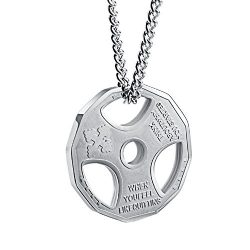 Mens Fashion Stainless Steel Fitness Gym Dumbbell Weight Plate Barbell Chain Pendant Necklace