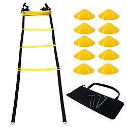 SPURBO SPORTS Agility Ladder with 12 Rungs 10 Field Cones Speed Training Equipment For High Inte ...