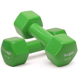 Yes4All Vinyl Coated Dumbbells – PVC Hand Weights for Total Body Workout (Set of 2, Emeral Green ...