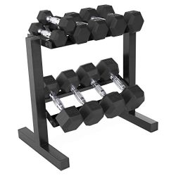 CAP 150-Pound Rubber Hex Dumbbell Weight Set, 5-25 Pounds with Rack