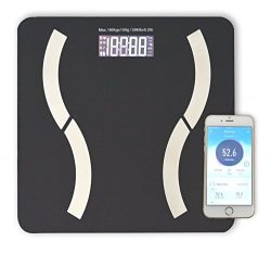 HoooWooo Bluetooth Body Fat Bathroom Scale with Tempered Glass Platform, 9 Body Measurement, Ste ...