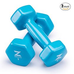 Z ZELUS Cast Iron Vinyl Coated Dumbbells Hand Weights for Women/Men Workout (Set of 2) (3)