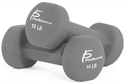 ProSource Set of Two Neoprene Dumbbells, Grey, 10 pounds