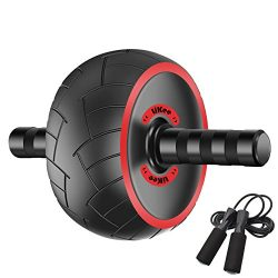LiKee Ultra-wide Ab Wheel Roller with Knee Pad and Jump Rope, Pro Fitness Equipment Ab Workout M ...