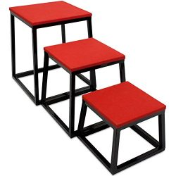 Set of 3 Plyometric Jump Boxes – Step Platform, Fitness Training & Conditioning Equipment fo ...