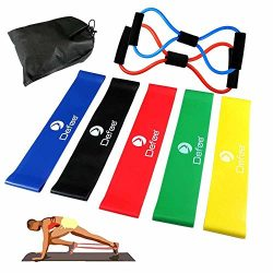 KNGUVTH Exercise Resistance Loop Bands, Set of 5 Natural Latex Exercise Bands Sport Physical Wor ...