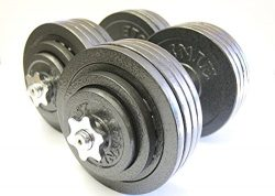 Omnie 200 LBS Adjustable Dumbbells with Gloss Finish and Secure Fit Collars for Crossfit WOD Wei ...