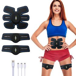 CHARMINER Muscle Toner, Abdominal Toning Belt,Portable Abs Muscle Trainer Ab Belt Wireless Body  ...