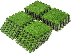 Sorbus Grass Mat Interlocking Floor Tiles – Soft Artificial Grass Carpet – Multipurpose Foam Til ...