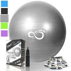 Exercise Ball -Professional Grade Exercise Equipment Anti Burst Tested with Hand Pump- Supports  ...