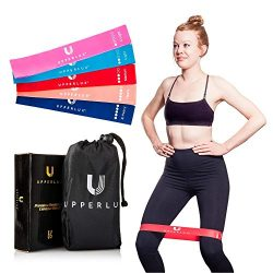 Upperlux Premium Resistance Exercise Loop Bands – Set of 5 with Carry Bag – Gym Strength Trainin ...