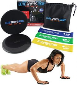 ELITE SPORTS ITEMS Elite Workout Kit – Core Sliders + Resistance Loop Bands – Great  ...