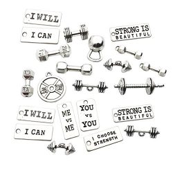 Sports Charms-100g (about 32pcs) Strength Tags Kettle bell dumbbell barbell weight mix charms Sp ...