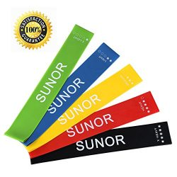 SUNOR Resistance Workout Bands for legs and butt Physical Therapy Fitness Exercise, Set of 5, 12 ...