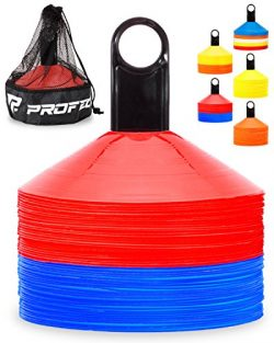 Pro Disc Cones (Set of 50) – Agility Soccer Cones with Carry Bag and Holder for Training,  ...