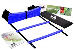 REEHUT Agility Ladder w/ FREE USER E-BOOK + CARRY BAG – Speed Training Equipment (Blue, 12 ...