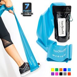 Super Exercise Band Medium+ SKY BLUE Resistance Band. Your Home Gym Fitness Kit for Strength Tra ...